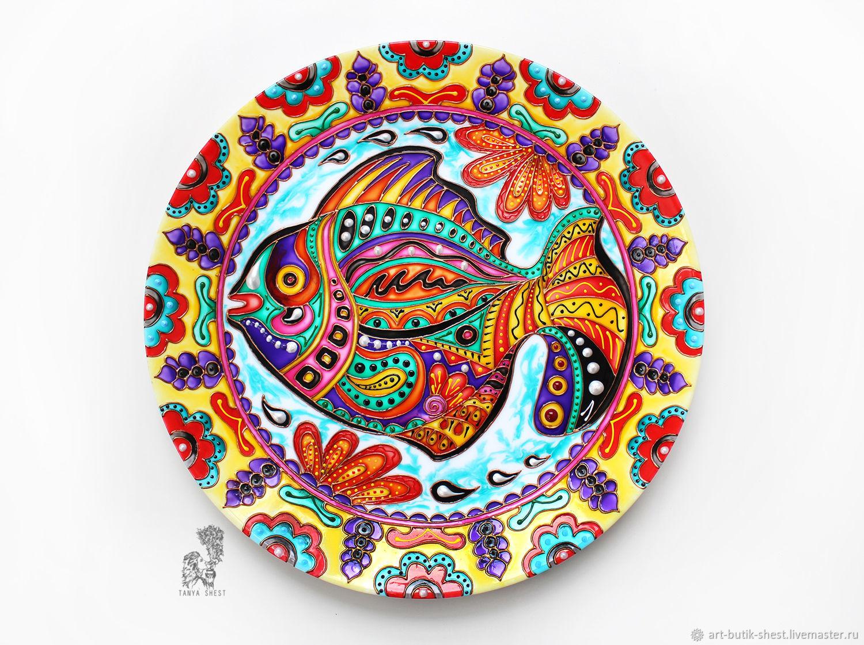 """Декоративная посуда ручной работы. Ярмарка Мастеров - ручная работа. Купить """"Мексиканская рыбка"""" декоративная тарелка. Handmade. Рыба"""