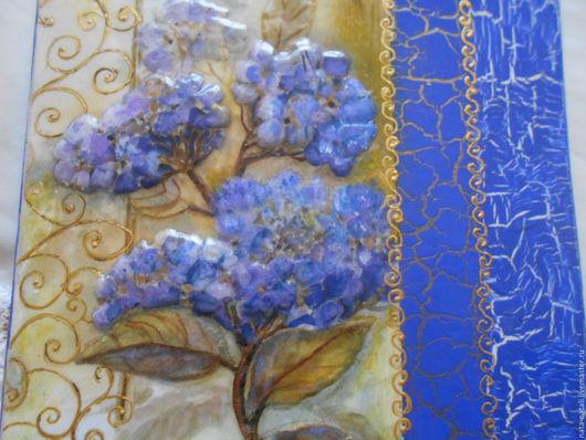 Экстерьер и дача ручной работы. Ярмарка Мастеров - ручная работа. Купить картина - панно Синяя Гортензия. Handmade. Картина