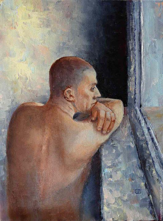 """Люди, ручной работы. Ярмарка Мастеров - ручная работа. Купить Картина маслом """"Утром"""" 40 на 30. Handmade. Голубой, взгляд"""