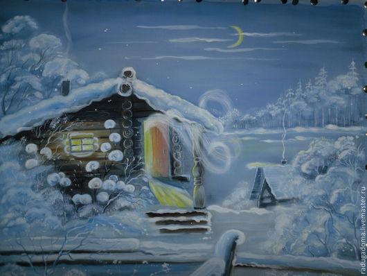 Пейзаж ручной работы. Ярмарка Мастеров - ручная работа. Купить Картина зима акварель. Дача. Баня. Handmade. Синий, баня