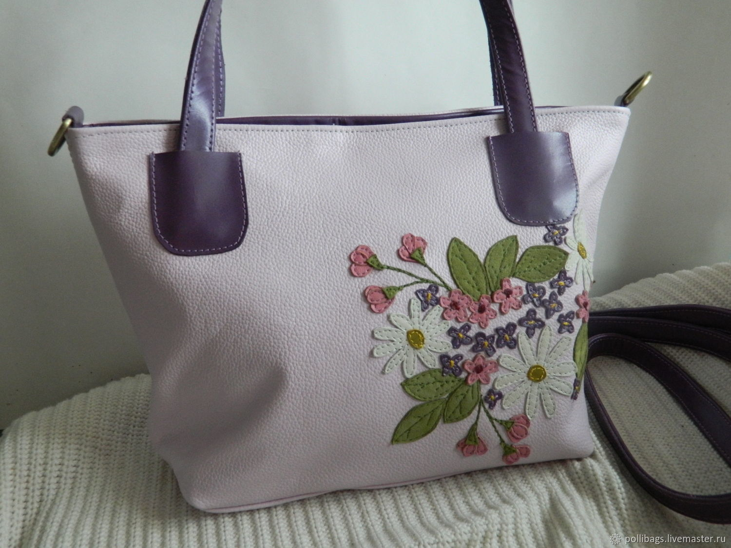 Leather bag bag with applique spring garden purple u shop online