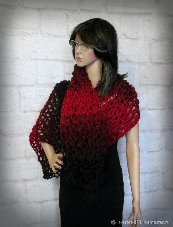 Вязаный шарф палантин, ажурный палантин, длинный женский шарф, Палантины, Зеленоград,  Фото №1
