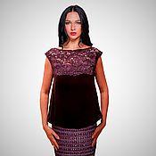 Одежда handmade. Livemaster - original item Designer blouse made of silk velvet and lace with luxurious embroidery. Handmade.