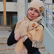 Аксессуары handmade. Livemaster - original item Hat, mittens and scarf set beige. Handmade.