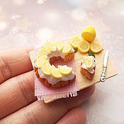Кукольная еда ручной работы. Ярмарка Мастеров - ручная работа Лимонный пирог. Handmade.