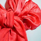 Аксессуары ручной работы. Ярмарка Мастеров - ручная работа Коралловый риф шарф натуральный шелк атлас. Handmade.
