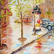 "Картины и панно handmade. Livemaster - original item Original painting ""Retro Car"" oil on canvas, 40x50 cm. Handmade."