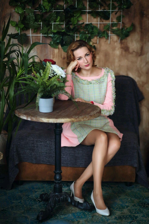 Розово мятное платье из твида в стиле Шанель, Платья, Санкт-Петербург,  Фото №1