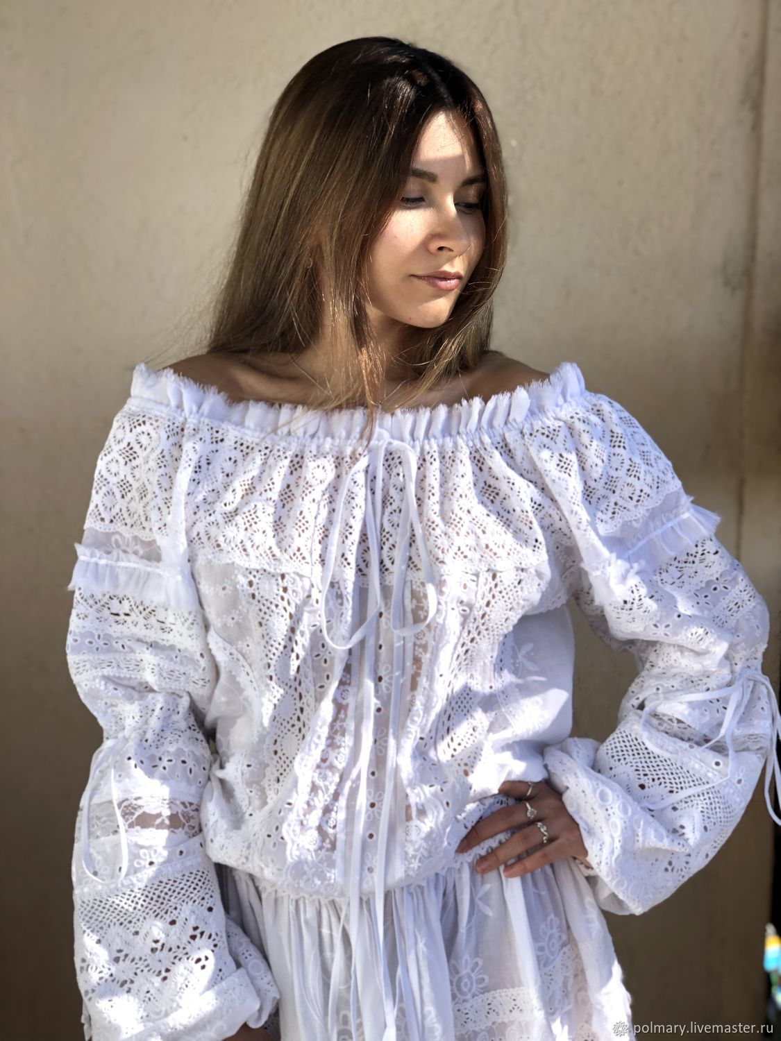 Dress of white embroidery and lace Bohemian 'Odette', Dresses, Tashkent,  Фото №1
