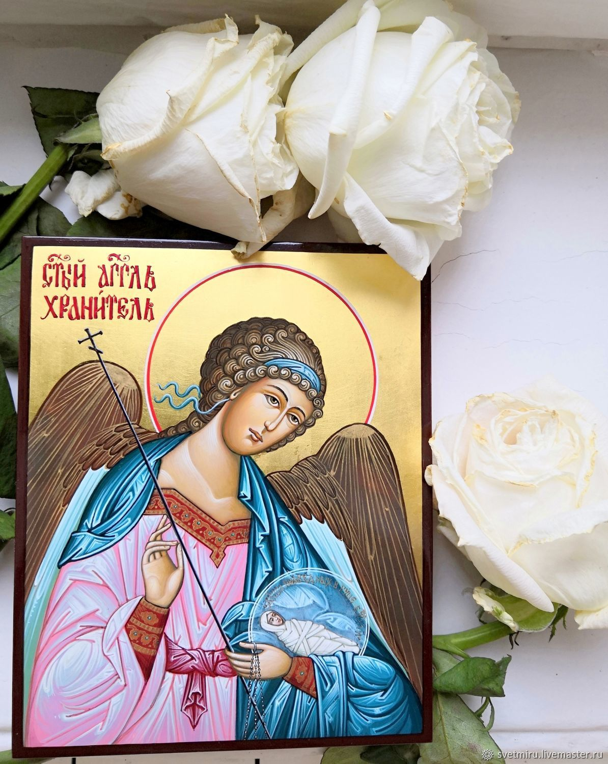 Holy Guardian Angel.Hand painted icon on gold, Icons, St. Petersburg,  Фото №1
