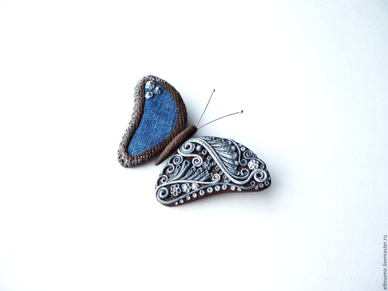 brooch `Butterfly fantasy` jeans