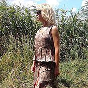 """Одежда ручной работы. Ярмарка Мастеров - ручная работа Валяный костюм юбка+топ """"Мilk chocolate"""" (бохо). Handmade."""