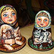 Куклы и игрушки ручной работы. Ярмарка Мастеров - ручная работа Неваляшки с собачкой и кошечкой. Handmade.