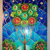 """Картины и панно ручной работы. Ярмарка Мастеров - ручная работа Роспись по стеклу """"Древо жизни"""". Handmade."""