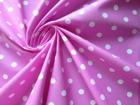 Бязь `Горошек на розовом`