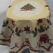 Ткани ручной работы. Ярмарка Мастеров - ручная работа Скатерть гобеленовая-новогодняя красавица. Handmade.