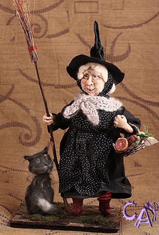 Коллекционные куклы ручной работы. Ярмарка Мастеров - ручная работа. Купить Ведьма Нянюшка Ягг и кот Грибо. Handmade. ткань