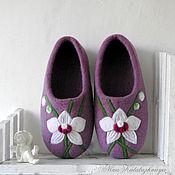 Обувь ручной работы. Ярмарка Мастеров - ручная работа Валяные тапочки Белая Орхидея Тапочки для дома Тапочки из шерсти. Handmade.