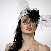 Аксессуары handmade. Livemaster - original item White silk organza turban with big black rose and net. Handmade.