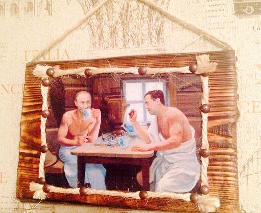 """Люди, ручной работы. Ярмарка Мастеров - ручная работа. Купить Панно для бани """"На высшем уровне"""". Handmade. Панно"""