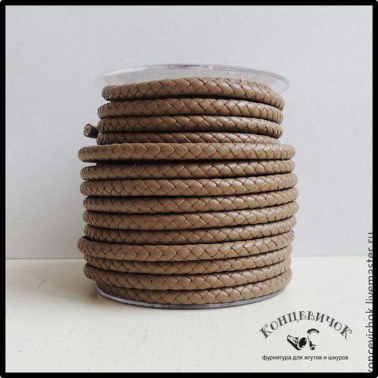 Для украшений ручной работы. Ярмарка Мастеров - ручная работа. Купить Хаки плетеный кожаный шнур 6мм индия. Handmade.
