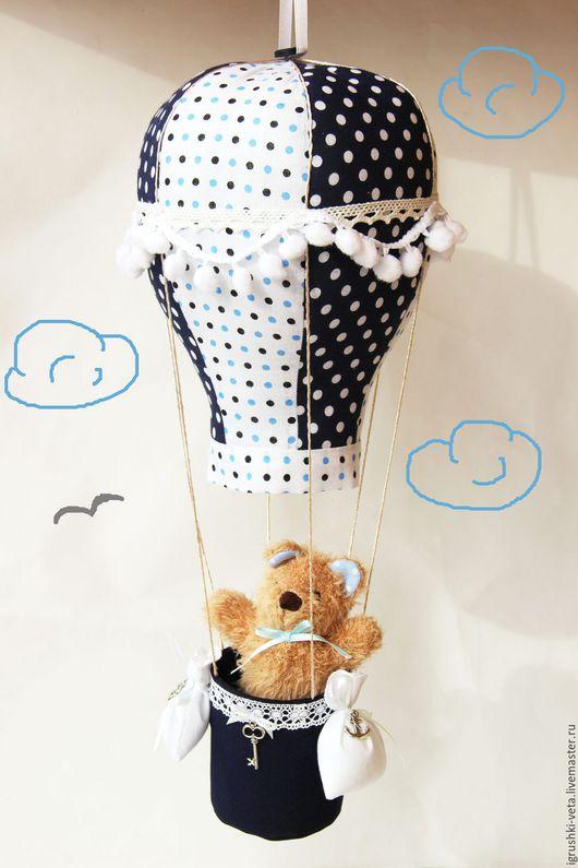 """Детская ручной работы. Ярмарка Мастеров - ручная работа. Купить """"Навстречу мечте"""" - текстильный воздушный шар.. Handmade. Белый, летчик"""