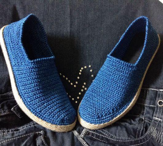 Обувь ручной работы. Ярмарка Мастеров - ручная работа. Купить Слиперы мужские ,цвет джинс. Handmade. Тёмно-синий