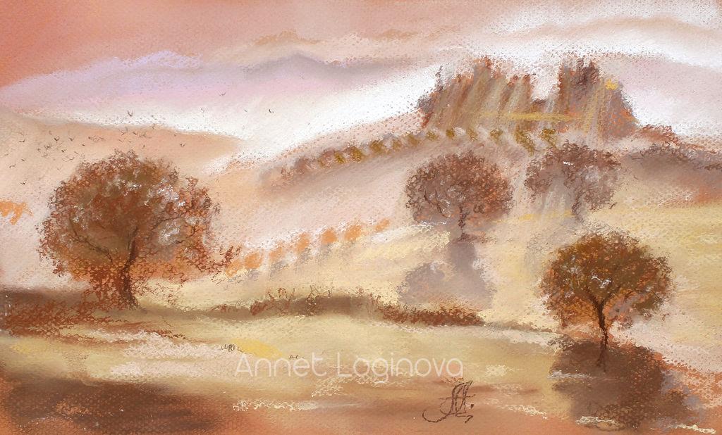 Картины цветов ручной работы. Ярмарка Мастеров - ручная работа. Купить Тоскана. Handmade. Осень, рассвет, туман, картина пастелью
