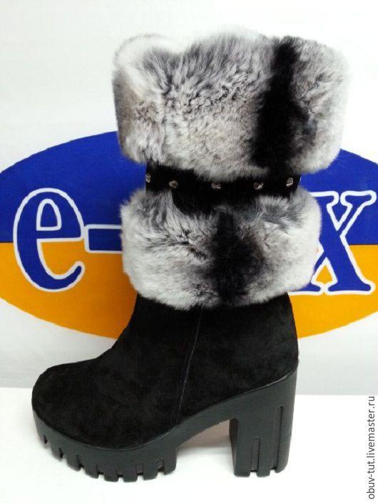 Обувь ручной работы. Ярмарка Мастеров - ручная работа. Купить Сапожки до -45 морозa натуральная  зaмшa опушка заяц 36,37,38,39,40. Handmade.