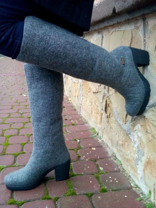 """Обувь ручной работы. Ярмарка Мастеров - ручная работа. Купить Сапожки-валенки  """"Оттенки серого"""". Handmade. Серый, обувь"""