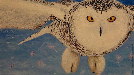 Животные ручной работы. Ярмарка Мастеров - ручная работа. Купить Картина. Белая сова. Масло, холст на подрамнике, 100 см. х 40 см.. Handmade.