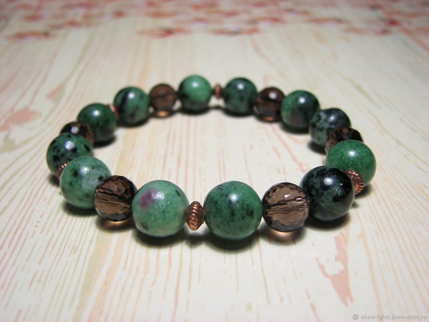 Bracelet zoisite with ruby and Topaz 'the Magic of inspiration', Bead bracelet, Moscow,  Фото №1