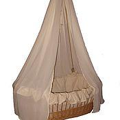 Работы для детей, handmade. Livemaster - original item Linen bedding set in wicker cradle. Handmade.