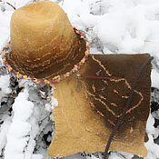 Сумки и аксессуары ручной работы. Ярмарка Мастеров - ручная работа Комплект валяный шляпа и сумка Медовый. Handmade.