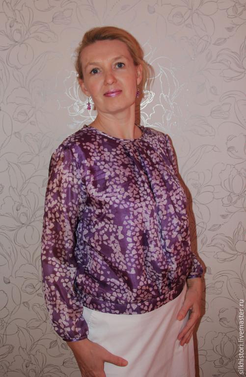 Блузки ручной работы. Ярмарка Мастеров - ручная работа. Купить Шифоновая блузка Нежная фиалка. Handmade. Сиреневый, стильная блузка