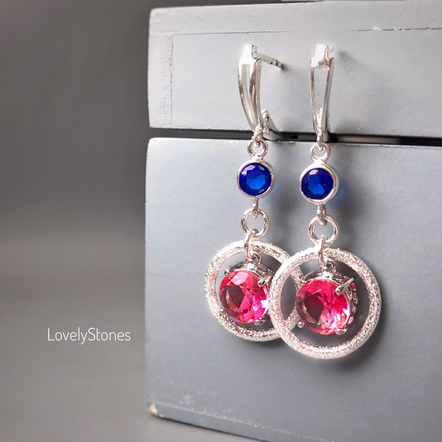 India earrings with sparkling stones clasps silver, Earrings, Yaroslavl,  Фото №1
