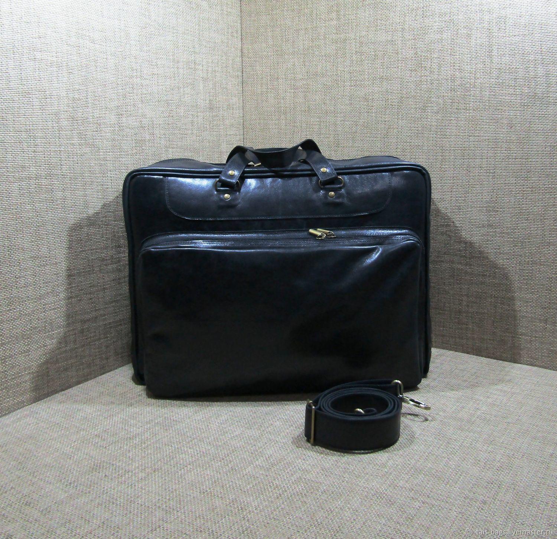 Men's leather bag GANYMEDE maxi black chrome, Classic Bag, Izhevsk,  Фото №1