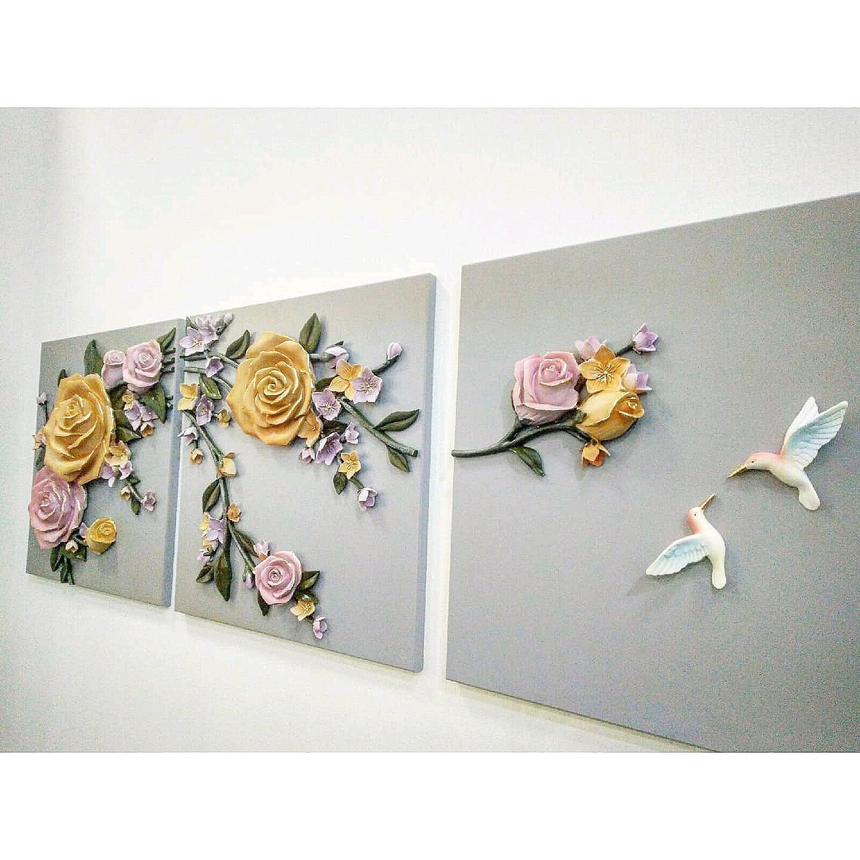Интерьерная картина с барельефом, панно рельефное маслом, розы, Картины, Ставрополь,  Фото №1