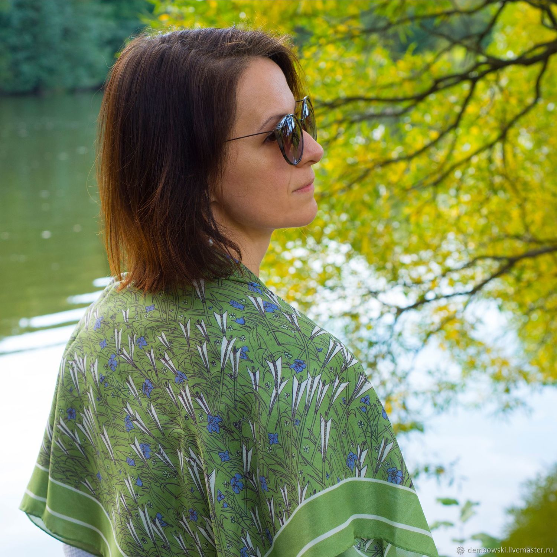 "Silk autentic scarf ""Arrows and Iris flowers"", Shawls, Moscow,  Фото №1"