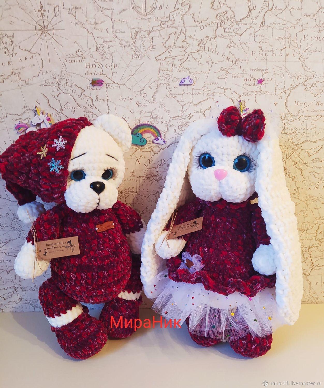 зайка и мишка,свадебные игрушки, Мягкие игрушки, Орел,  Фото №1