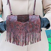 Аксессуары handmade. Livemaster - original item Clutch leather Python and suede with fur sheepskin Fringe Chocolate. Handmade.