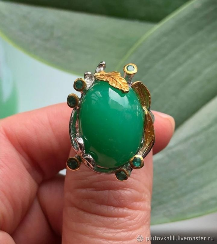 Author's ring with chrysoprase, size 19,5, Rings, Serpukhov,  Фото №1