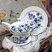 Посуда handmade. Livemaster - original item Painted porcelain Tea set Eryngium. Handmade.