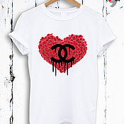 Одежда handmade. Livemaster - original item White cotton heart print t-shirt - TEE10174CT. Handmade.