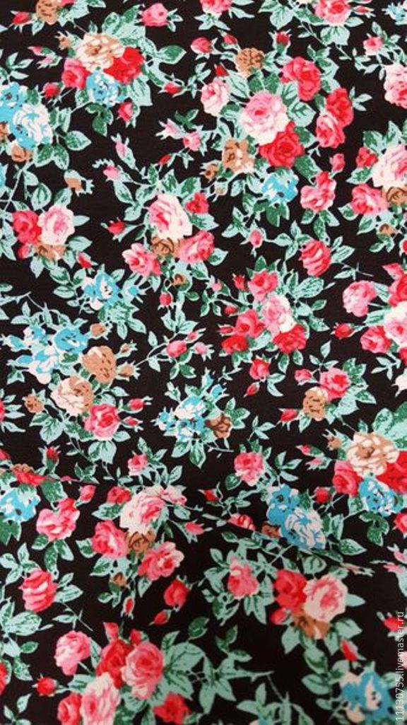 Ткань натуральная хлопок поплин цветы на черном, Ткани, Москва,  Фото №1