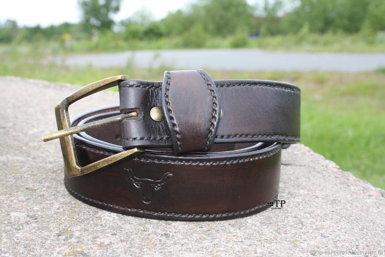 Men's leather belt 'The Bull», Straps, St. Petersburg,  Фото №1
