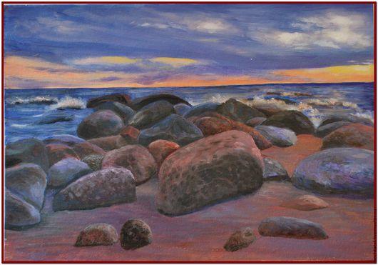 Пейзаж ручной работы. Ярмарка Мастеров - ручная работа. Купить Каменистый берег. Закат.. Handmade. Тёмно-фиолетовый, море, закат
