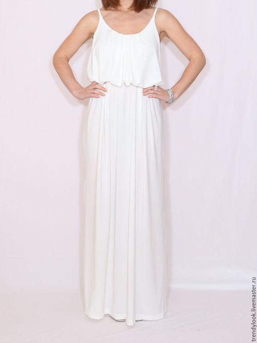 Платья ручной работы. Ярмарка Мастеров - ручная работа. Купить Белое Платье летнее сарафан на бретельках. Handmade. Белый, платье