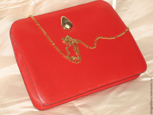 """Винтажные сумки и кошельки. Ярмарка Мастеров - ручная работа. Купить винтажная  сумка """"LUANA"""" из кожи ящерицы. Handmade. Ярко-красный"""