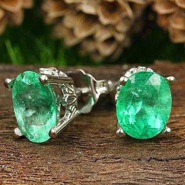 Decorations handmade. Livemaster - original item 2.10 Carats Bright Green Emerald Oval Scroll Stud Earrings. Handmade.